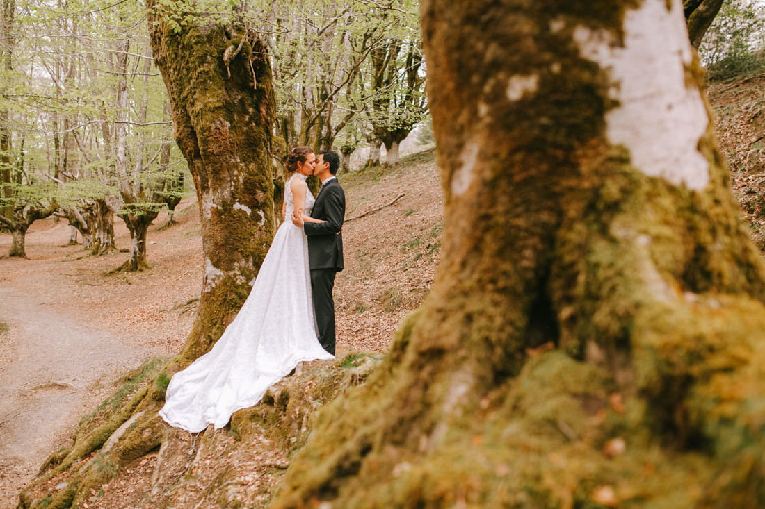 Post-Wedding photo shoot at Otzarreta beech forest. Wedding Photographer, Kunst Photo & Art